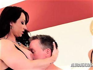 Alura Jenson milf three way tear up with Brandi May