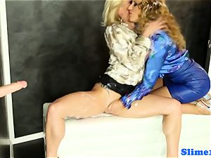 Bukkakke lesbos handballing at gloryhole