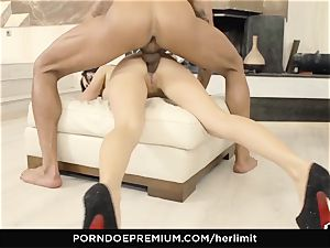 HER confine big mounds honey takes enormous man-meat in gaped donk