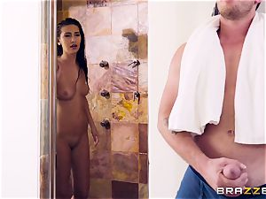 Surprise snatch drill in the douche with Olivia Nova