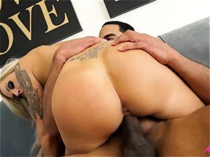 big-chested towheaded Nina Elle taking a fat black pecker