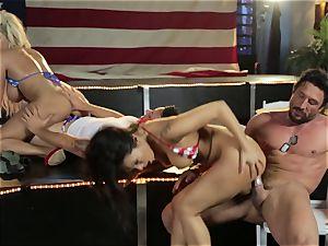 Asa Akira and Bridgette B give a exclusive flash