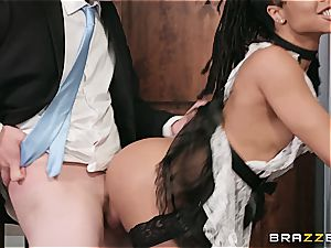 steamy black maid nearly get caught