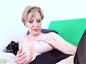OldNannY Lusty grandmother Milena Solo toying Showoff