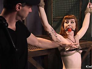 sandy-haired gangbang tortured in instructing
