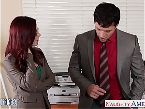 red-haired cutie in glasses Penny Pax plumb in the office