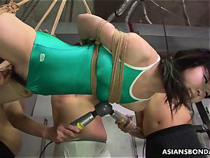 asian trussed up to be sexually tormented by some pervs