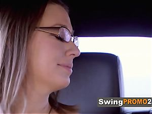 Odd duo shares grins and moans as they foreplay with other swingers