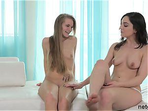 2 super-cute lesbians femmes bring a cock to play