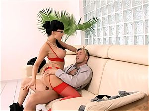 crazy assistant boned on a bed in underwear