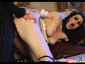 Tina kay has thick flow on her fabulous lovely face from frankenstein