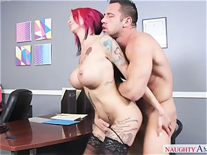 huge-chested weirdo gal with hefty knockers gets boinked on the office desk