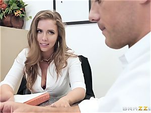 Office nail with huge-chested chief Lena Paul