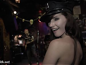 Jeny Smith drives a Moscow bar insane dancing bare to the music