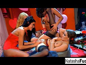 Charley chase, Natasha lovely, Sophie Dee, and river J raw
