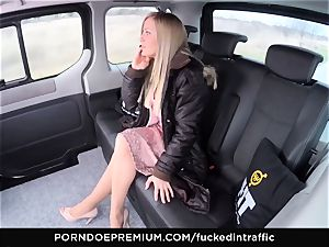 smashed IN TRAFFIC - jizz on butt for naughty slim blond