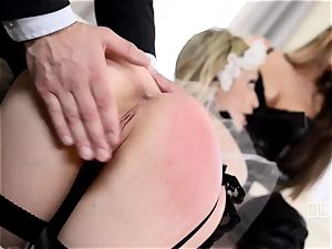 obedient subordinated Chessie Kay gets disciplined and drilled by her sir and his wifey