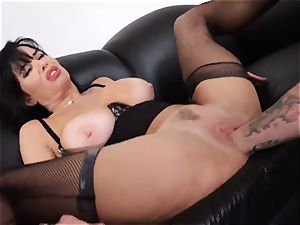spurting black-haired Veronica Avluv cunt stuffed and fisted