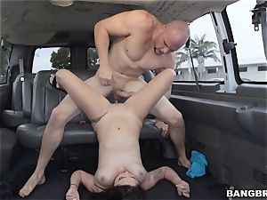 Karlee Grey picked up and stuffed on the Bangbus