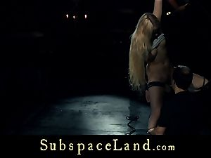 slave chick blonde pleasured and penalized in subordination