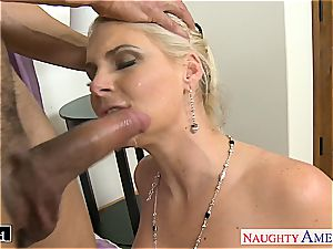 trendy Phoenix Marie takes spunk-pump in her shaven fuck-hole
