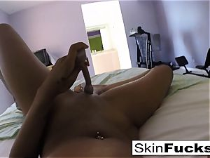 Self shot solo with flesh Diamond and her coochie toys