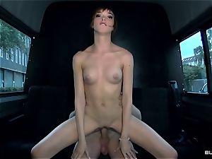 BumsBus - German Anny Aurora strip and tears up in the van