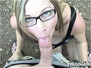 lovely bespectacled housewife gets a man rod facial