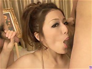 Premium japanese gang hook-up along Meisa Hanai