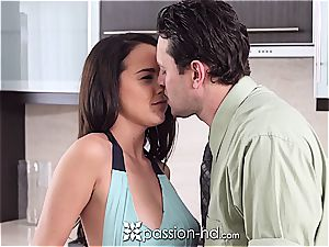 bare hotty Dillion Harper plays with salami