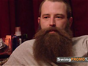 Bearded husband deepthroats off wife s punani in steamy pre soiree fuckfest