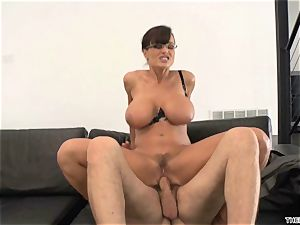 Lisa Ann gets her face drizzled with ample sausage mayo
