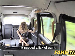 faux taxi skinny smallish platinum-blonde takes immense man-meat