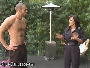 buxom cop Lisa Ann gives out her pipe punishment