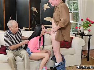 aged platinum-blonde grannie and youthful couples outdoors Dukke the Philanthropist