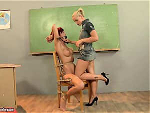 Kathia Nobili giving a ultra-kinky lesson to a torrid red head