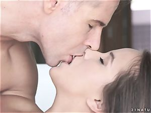 lush young brunette seduced her father's accomplice