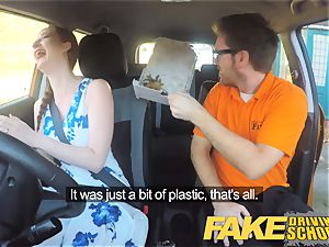 fake Driving school Nerdy red-haired teenage college girl