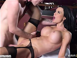 stunning big-titted waitress Jasmine Jae gets her cock-squeezing gash pummeled by Danny