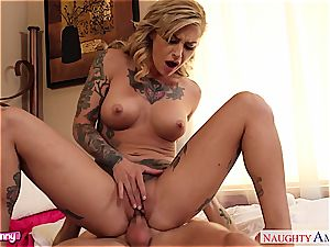 horny Kleio Valentien in undergarments toying with hard man meat