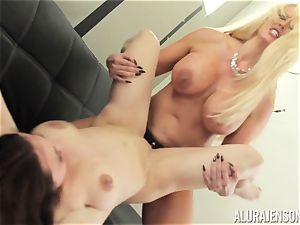 Alura Jenson cootchie crammed with belt cock mighty muscular gal Brandi May