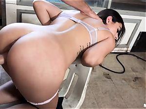 Audrey Royal gargling fuckpole for cash