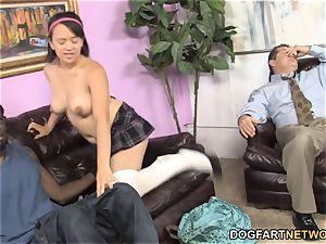 Callie Dee Has figure jiggling orgasm From large ebony rod