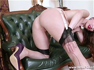 babe unclothes to nylons high-heeled shoes to toy her gash