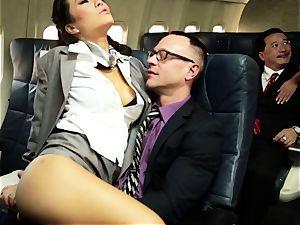 Asa Akira and her hostess mates screw on flight