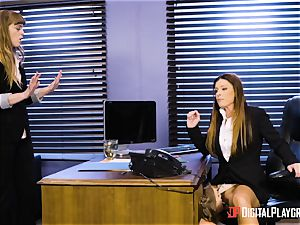 India Summers and Sunny Lane fuckbox scissoring activity in the office