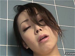 Solo huge-boobed chinese ditzy touching on her wet coochie