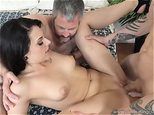 Megan Sages hubby drains little spear As She Gets plumbed