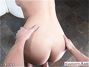 slender buxom housewife Natalia Starr take man-meat in pov